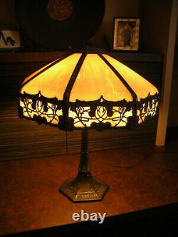 Art Nouveau Tiffany Table Lamp Style with Slag Stained Glass