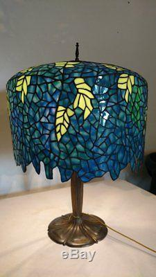 B & H Sequoia Four Socket Lamp w Tiffany Style Wisteria Stained Glass-Slag Shade