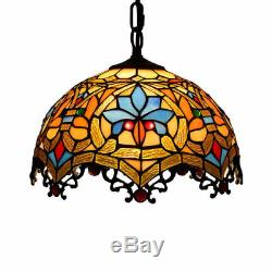 Baroque Chandelier Tiffany Ceiling Light Colored Glass Restaurant Pendant Lamp
