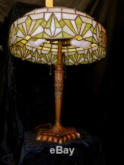 Beautiful 1920's Lamb Brothers & Green Stained Glass lamp