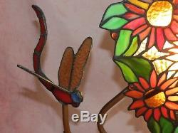 Beautiful Ambiance Tiffany Style Stained Glass Dragonfly & Sunflowers Lamp