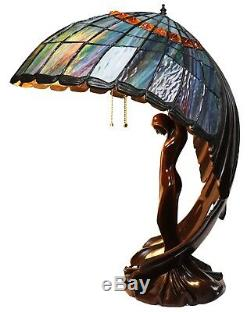 Beautiful Flying Lady Lamp, Tiffany Style Stain Glass, Iridescent Wings, 26 in