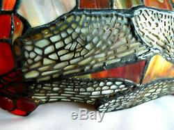 Beautiful Large Tiffany Reproduction Stained Glass Lamp Shade Jeweled DragonFly