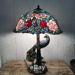 Beautiful Leaded Glass Tiffany Style Peacock 3 Way Lamp Stained Reproduction