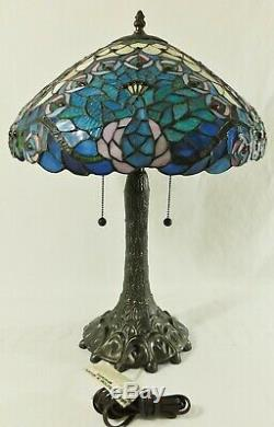Beautiful Vintage 16 Tiffany Style Stained Glass PEACOCK 2 Light Table Lamp