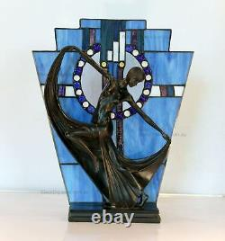 Blue Art Deco Stained Glass Lamp, Table Lamp, Stained Glass