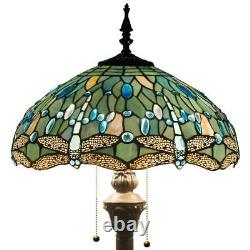 Blue Dragonfly Reading Floor Lamp Tiffany Style Light Stained Glass Shade 110V
