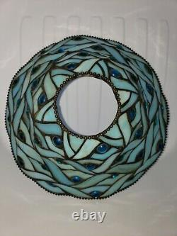 Blue Slag Milk Glass Stained Glass Lamp Shade Cabochons Leaded Beaded Edging