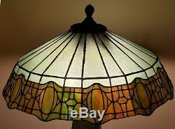 Bradley & Hubbard B&H Arts & Crafts Leaded Slag Stained Glass Lamp Tiffany Era