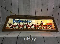 Budweiser Clydesdale Pool Table Light Lamp Vintage Stained Glass Rare EXCELLENT