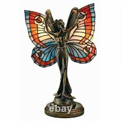 Butterfly Fairy Tiffany-Style Stained Glass Illuminated Sculpture Table Lamp