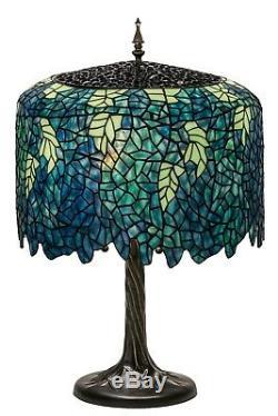 CASCADING BLOSSOMS Meyda Lighting 28H Tiffany Wisteria Table Lamp Green Blue