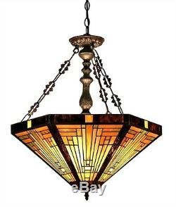 Chandelier Ceiling Lamp Tiffany Style Beautiful Stained Glass Mission 3 Light