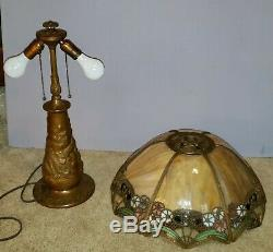Charles Parker Arts & Crafts Leaded Slag Stained Glass Lamp Handel Duffner Era