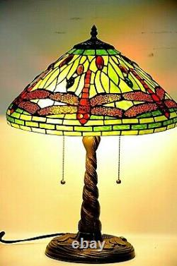 Classic Tiffany Table Lamp Dragonfly Shade Twisted dragonfly Base, Stained Glass
