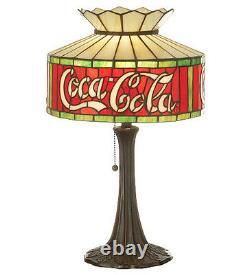Coca Cola Coke Table Stain Glass Accent Lamp 20H 74066