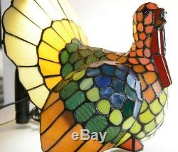 Cracker Barrel Turkey Stained Glass Tiffany Lamp Vintage Hard to Find Beautiful