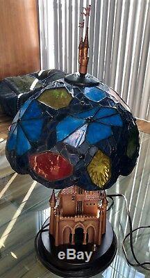 DISNEY Disneyland 50th Anniversary Sleeping Beauty Castle Stained Glass Lamp