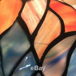 Dale Tiffany Signed Stained Glass Lamp Shade 14 Blue Purple Iridescent Peacock