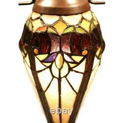 Double-Lit Victorian Theme Stained Glass Tiffany Style Accent Table Lamp