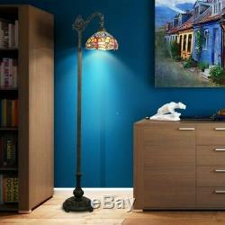 Dragonfly Floor Lamp Tiffany Style Bridge Reading Bedside Stained Glass Lighting