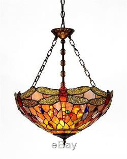 Dragonfly Hanging Ceiling Pendant Light Fixture Lamp Tiffany Style Stained Glass