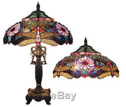 Dragonfly Stained Glass Table Lamp Tiffany Style Shade