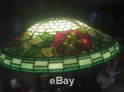Duffner Kimberly Chandelier Lamp Leaded Slag Stained Glass Shade Handel Lamp Era