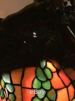 E. Thomasson Signed Daphne Laurel Tree Bronze Stained Glass Lamp 28 Female Nude