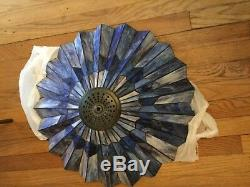 EXCELLENT COND Accordian Pleated Stained Glass Large Lamp Shade 21W x 10T