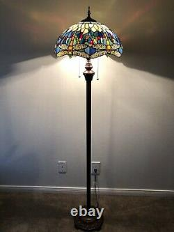 Enjoy Brand Tiffany Floor Lamp Stained Glass Dragonfly Antique Vintage W16H64