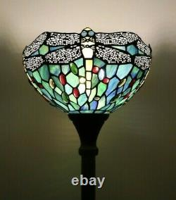 Enjoy Floor Lamp Green Blue Stained Glass Dragonfly Antique Vintage W12H66 INCH