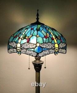 Enjoy Floor Lamp Green Blue Stained Glass Dragonfly Antique Vintage W16H64 INCH