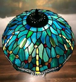 Enjoy Table Lamp Dragonfly Green Blue Stained Glass Antique Vintage W16H24 inch