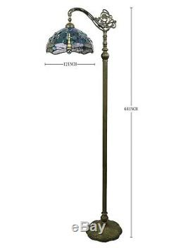 Enjoy Tiffany Floor Lamp Blue Stained Glass Dragonfly Antique Vintage W12H64