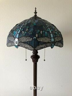 Enjoy Tiffany Floor Lamp Blue Stained Glass Dragonfly Antique Vintage W16H64
