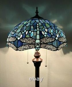 Enjoy Tiffany Floor Lamp Sea Blue Stained Glass Dragonfly Antique Vintage H64
