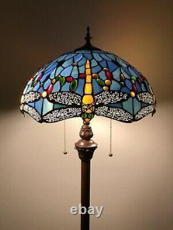 Enjoy Tiffany Floor Lamp Sky Blue Stained Glass Dragonfly Antique Vintage H64