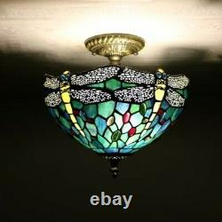 Enjoy Tiffany Style Dragonfly Green Blue Stained Glass Vintage Ceiling Lamp H12