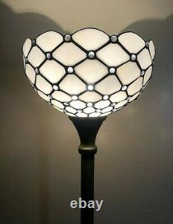 Enjoy Tiffany Style Floor Lamp Crystal Bean White Stained Glass Antique 66H12W