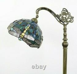 Enjoy Tiffany Style Floor Lamp Dragonfly Green Blue Stained Glass Antique 64H