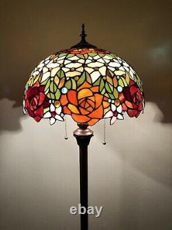 Enjoy Tiffany Style Floor Lamp Rose Flowers Stained Glass Vintage EF1603 64H16W