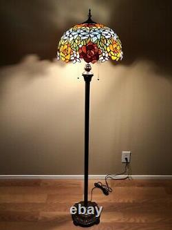 Enjoy Tiffany Style Floor Lamp Rose Flowers Stained Glass Vintage EF1603-B 64H