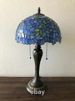 Enjoy Tiffany Style Table Lamp Blue Stained Glass Flowers Leaf Vintage 22H12W