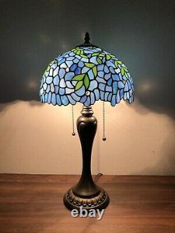 Enjoy Tiffany Style Table Lamp Green Leave Stained Glass Antique Vintage H22