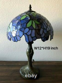 Enjoy Tiffany Style Table Lamp Stained Glass Purple Flower Antique Vintage 19H