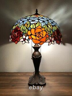 Enjoy Tiffany Style Table Lamp Stained Glass Rose Flowers Blue Vintage W16H24