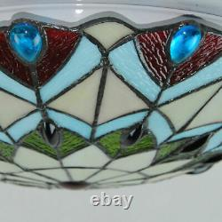 European Peacock Tail Flush Mount Lights Tiffany Stained Glass Ceiling Lamp
