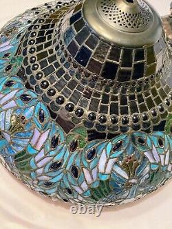 Exceptional Peacock Stained Glass Tiffany Style 3 Way Table Lamp Reproduction