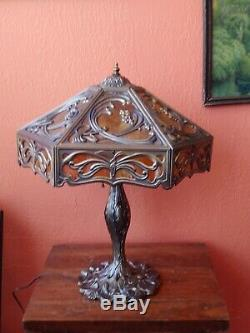 Fabulous Vintage Flowing Art Nouveau Style Stained Slag Glass Lamp Butterfly